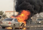 Four vehicle pile-up, car catches fire